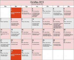 Тибетский календарь на октябрь месяц